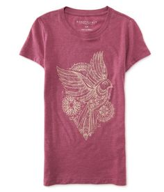 "You have an eagle eye for style so you know you can't pass up our Mandala Bird Graphic Tee! It's made of super-soft fabric and features an intricate, boho-inspired design. Complete your fancy-free look with skinny jeans and moccasins.<br><br>Slim fit. Approx. length (S): 25.5""<br>Style: 3012. Imported.<br><br>60% cotton, 40% polyester.<br>Machine wash/dry."