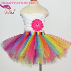 fluffy tutu skirt 1 8 years Colorful rainbow tulle skirt girl fluorescence blue hot pink orange purple girls tutu skirts-in Skirts from Mother & Kids…