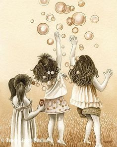 Bubbles - 5x7 archival watercolor print by Tracy Lizotte. $12.00, via Etsy.