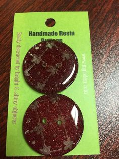 """Set of 2 Handmade Resin Buttons made in Montana Set of 2 extremely lightweight handmade resin buttons. Approx. 1 1/4"""" in diameter. Each button is sanded by hand, then bubble coated, which makes a comp"""