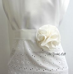 Pale Yellow Polka Dot and White Satin Dress Sash for Bridesmaids, Flower Girls or that Special Occasion Dress ~ Handmade by Bridal Loft on Etsy