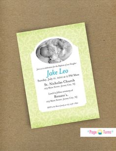baby photo baptism christening invitation. #etsy #babyinvite #pageturns #baptism #invites