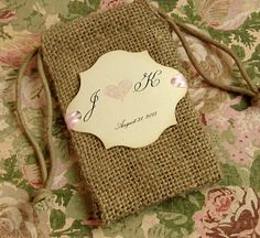 Burlap favor bags  Personalized  Initials  Heart  Hand by Pedoozle, $40.00