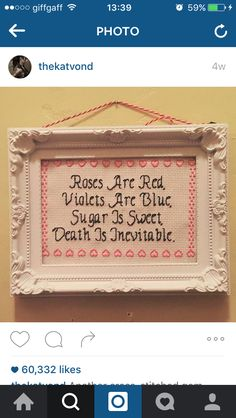 Funny and rude Roses are Red poem Cross stitch
