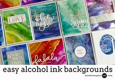 Easy Alcohol Ink Backgrounds + Blog Hop + Giveaways - Jennifer McGuire Ink