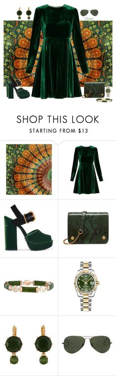 """Top Set 10/10/16-Green Velvet"" by gemique ❤ liked on Polyvore featuring WALL, Sportmax, Prada, Mulberry, Rolex, Les Néréides and Ray-Ban"
