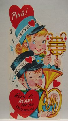 Vintage Valentine Card Girl Boy Tuba Marching Band Ping Goes My Heart Unused | eBay