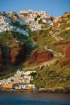 Santorini, Greece.  Our cruise ship stopped at the bottom.  Only way up to the village is to take a tram or walk up with the donkeys.  Real fun.