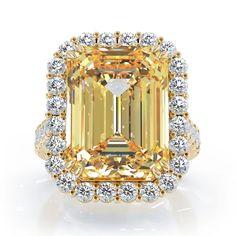 Emerald Cut Rings, Emerald Cut Diamonds, White Diamonds, Yellow Diamond Engagement Ring, Engagement Ring Cuts, Beautiful Diamond Rings, Citrine Ring, Gold Bands, Cheesecake Toppings