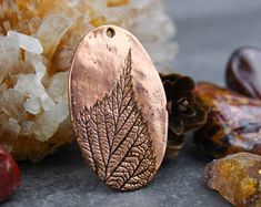 Solid Copper Leaf Pendant Focal, Pure Bright Copper Leaf Imprint Component, 22x33mm, C29, PMC Precious Metal Clay