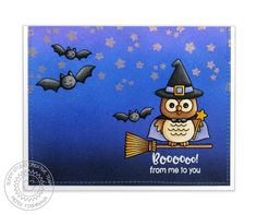 Sunny Studio Stamps: Happy Owl-o-ween Witch on Broomstick Halloween Card by Mendi Yoshikawa