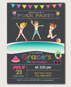 Pool Birthday Invitation Pool Party Invite Pool by PixeleenDesigns