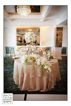 Romantic Vintage wedding at La Valencia Hotel La Jolla Wedding Table Linens, Wedding Reception Tables, Reception Layout, La Valencia Hotel, Bride Groom Table, Vintage Lace Weddings, Wedding Decorations, Table Decorations, Centerpieces