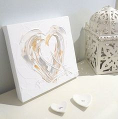 """""""PURE HEART"""" - PERSONALISED (IN SITU) Unique wedding / anniversary / Christening gifts. Heavily textured white paintings with a silver and gold heart. The bride and groom's names / initials and wedding date or baby's name and DOB can be incorporated into the paintwork. http://www.hannahvanbergen.co.uk/gifts/365347_pure-heart-in-situ.html"""