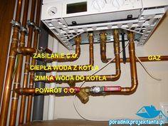 Kocioł gazowy dwufunkcyjny z zamkniętą komora spalania - widok podłączeia króćcy przyłączeniowych instalacji c.o. oraz instalacji wodociągowej