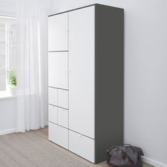 The bottom drawers have castors and therefore easy to move about. Smooth running drawers with pull-out stop. Ikea Storage, Tall Cabinet Storage, Small Clothes Rail, Dressing Ikea, Armoire Ikea, White Wardrobe, Plastic Foil, Drawer Fronts, Interior Accessories
