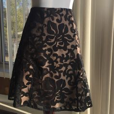 🌺SALE🌺Ann Taylor Embroidered Skirt Aline skirt,see through overlay(w/black embroidery),flesh tone lining.Shell,50% nylon & 50 % polyester.Size petite 4.Perfect condition.Length approx 20 inches & waist approx 15 inches.❌❌NO TRADES❌❌ Ann Taylor Skirts A-Line or Full