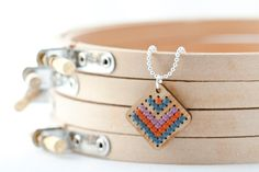Modern Cross Stitch Jewelry Kit - Bamboo Diamond Pendant with Multicolor Chevron Pattern. $12.00, via Etsy.