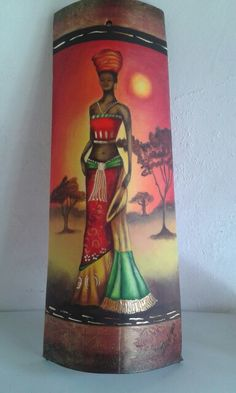Makeda,Reina de Saba. Bottle Painting, Diy Painting, Painted Fan Blades, Cardboard Box Crafts, African Paintings, African Crafts, Bamboo Art, Glass Bottle Crafts, Tile Crafts