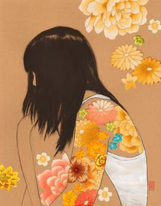 Clementine #print fr charcoal ink acrylic + fabric collage. $20 by Stasia Burrington on #etsy