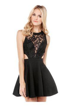 Black Skater Dress with Crochet Lace Detail Product Details - Crochet lace detail - Zip back fastening - Regular fit - Pattern Type: Floral - Sleeve Length: Sleeveless - Color: Black - Dresses Length: Short - Style: Party - Neckline: Crew neckline - Season: Summer - Main:60% Polyester, 40% Lace  http://www.yoins.com/Black-Skater-Dress-with-Crochet-Lace-Detail-p-950243