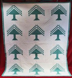 ANTIQUE QUILT 1850's GREEN and WHITE PINE TREE QUILT, eBay, oldthreads