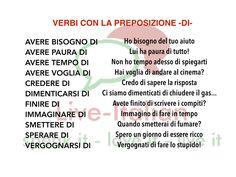 Verbi italiani con la preposizione DI Italian verbs using preposition DI