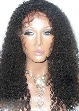 Nice 18Inch #1B Curly Remy Human Hair Glueless Full Lace Wig