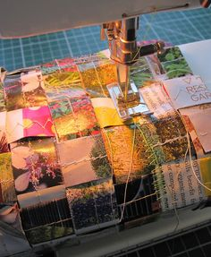 Paper weaving combined with sewing. Like the idea of folding and sewing paper panels, then weave into a quilt.