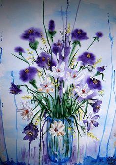 purple flowers in a blue vase #Croscill