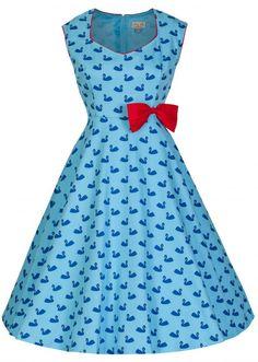 PRE ORDER: Leda Swan Print Vintage Swing Dress - Blue