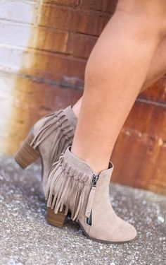 Beige Suede Fringe Booties, $48.50, heels, wedge, wedges, fall, fall fashion, fall style, fall shoes, shoe, booties, boots, sale, wedged booties, brown shoes, tan shoes, camel booties, camel boots, tan fringe, fringe booties, fringe boots, ankle boots, beige, cream, taupe