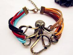 Antique Bronze Octopus Bracelet