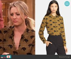 Penny's brown panther print blouse on The Big Bang Theory.  Outfit Details: https://wornontv.net/62279/ #TheBigBangTheory