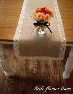 Burlap table runner with lace trim. Can't wait to make! Will go perf with my doily mason jar luminaries.