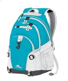 MP3 players for sports High Sierra Loop Backpack in Teal/White. Great school/work/gym/hiking backpack. Multi-compartment design Dedicated MP3 player pocket with headphone port Attach gear with monster hook and bottom straps Two side mesh beverage compartments Hanging accessory pocket Premium organizer compartment Yoke-style, S-Shaped Vapel Mesh padded backpack straps with Suspension System and integrated grab handle Comfortable back panel Dimensions: 19.0 x 13.5 x 8.5 - One of the best...
