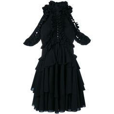 Designer Clothes, Shoes & Bags for Women Frilly Dresses, Ruffle Dress, Silk Dress, Edgy Outfits, Dress Outfits, Fashion Outfits, Alexander Mcqueen Dresses, Classy Dress, Black Ruffle