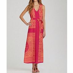Collective Concepts Maxi Dress Light orange and pink Collective Concepts maxi dress. Comes with fabric tie and loops on the side of the dress. Comes with built in slip on the inside. 100% polyester. Brand new with tags. Collective Concepts Dresses Maxi