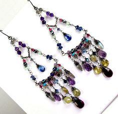 Bohemian Long Chandelier Earrings Wire Wrap by DoolittleJewelry, $245.00