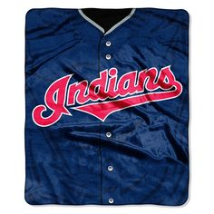 Cleveland Indians MLB Royal Plush Raschel Blanket (Jersey Series) (50in x 60in)