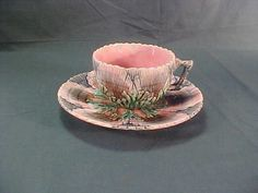 Antique Etruscan Majolica Shell and Seaweed Cup and Saucer