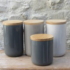 Kitchen storage Jars - Ceramic Storage Jars With Wooden Lids.