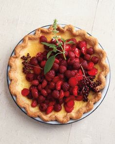 Lemon-Basil Custard Pie with Red Berries Recipe