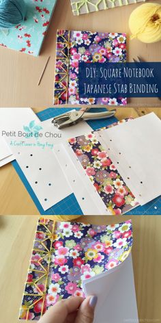 Make these adorable and easy square notebooks with Origami paper using Japanese stab binding technique. A step by step tutorial with free template.