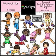 Kids in Action: Stretches and Warm-Ups Clip Art 18 PNGs ...