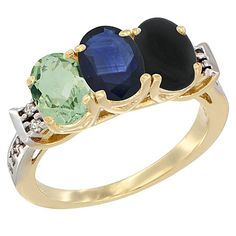 14K Yellow Gold Diamond 3-Stone Blue Sapphire Rings Wholesale - Afford Price: Contact Us @ (213) 689-1488