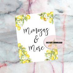 Lemon Theme Wedding or Bridal Shower, Lemon Bridal Shower, Beverage Bar printable sign, Mimosa bar, INSTANT download