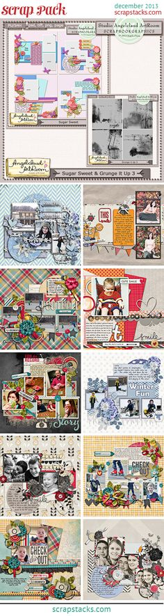 Layout examples using Angelclaud ArtRoom's Sugar Sweet Templates and Grungy overlays 3 - part of the December Scrap Pack! Click to purchase these sets and three others for only $5!