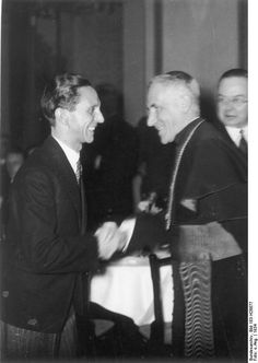 German Minister Joseph Goebbels and Vatican Apostolic Nuncio to Germany Cesare Orsenigo at the Propaganda Ministry in Berlin, Germany, 1934