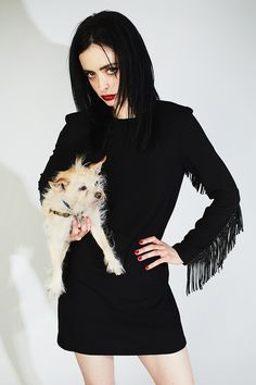 Krysten Ritter in H&M photographed with her dog Mikey by Kate Owen for Nylon magazine, March 2018.